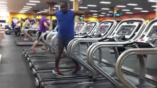 Man dancing on treadmill